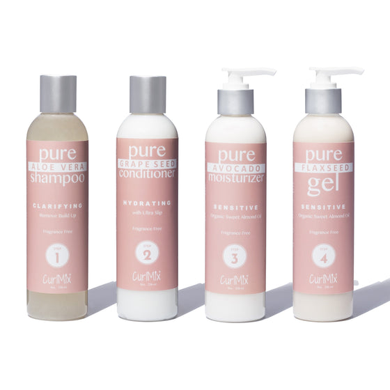Fragrance Free Wash + Go System with Organic Sweet Almond Oil for Sensitive Skin (Step 1 - 4) - CurlMix