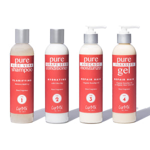 Rose Wash + Go System with Organic Rosehip Oil for Repairing Hair (Step 1 - 4) - CurlMix