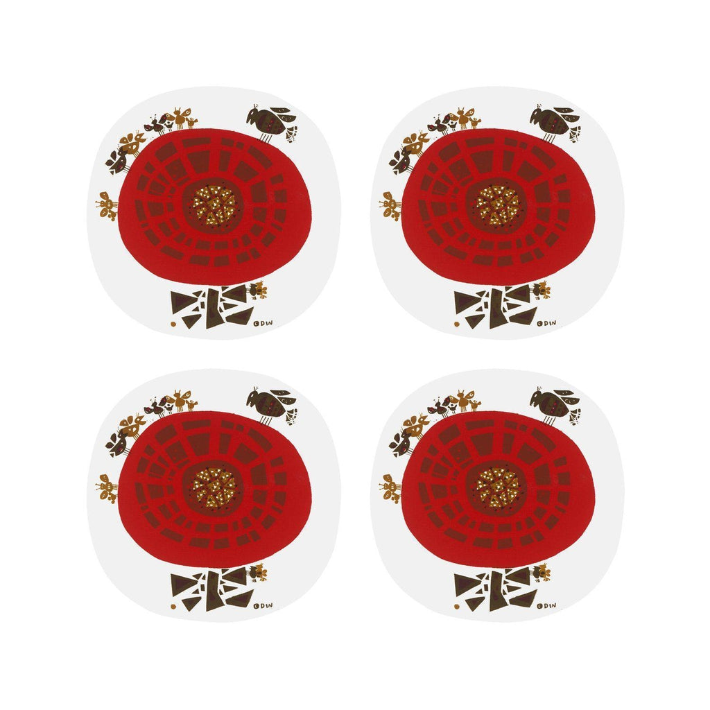David Weidman Studio Red Coasters Flower & Bug-Magpie-Beaumonde