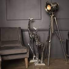 Giant Black and Silver Metal Giraffe Sculpture - Head Back-Libra-Beaumonde