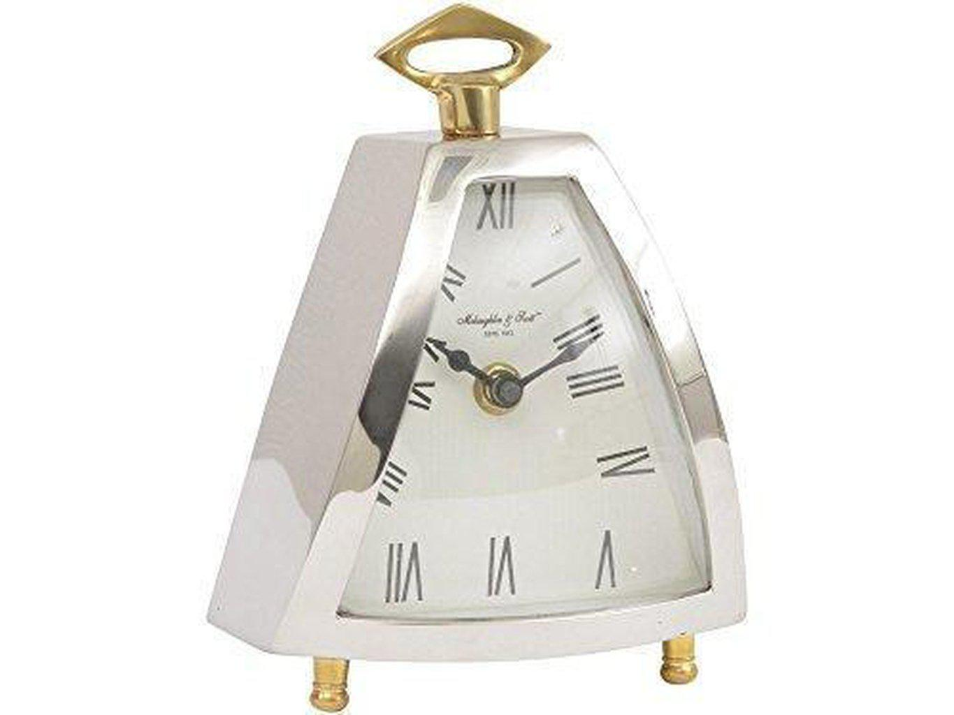 Isosceles Silver and Brass Triangular Mantel Clock-Libra-Beaumonde