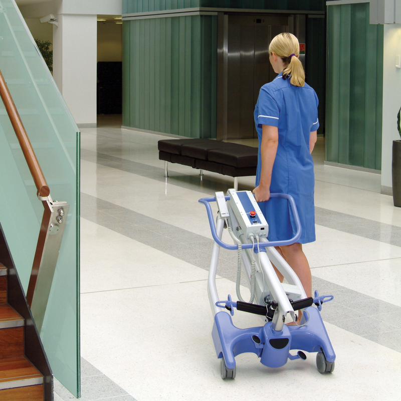 In use Hoyer Advance Stand Assist Patient Lift | 13.7 - 25.6 Inches | Locking Casters