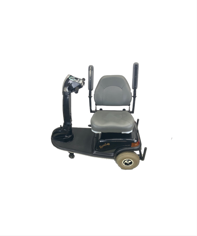 Arm rests Raised on Rascal 600T Electric 3-Wheel Scooter  Seat Elevating Capabilities  450 lbs. Weight Capacity  19 x 16 Seat  Lighting Kit
