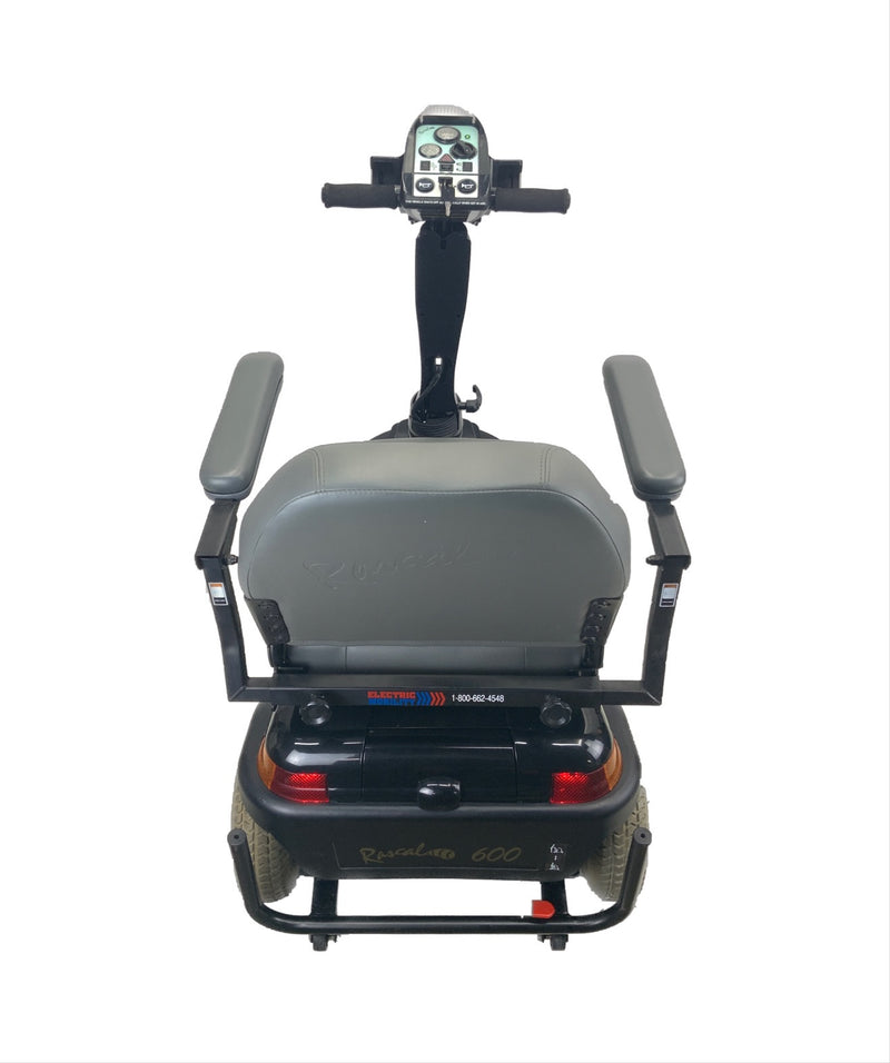 Back top view of Rascal 600T Electric 3-Wheel Scooter  Seat Elevating Capabilities  450 lbs. Weight Capacity  19 x 16 Seat  Lighting Kit