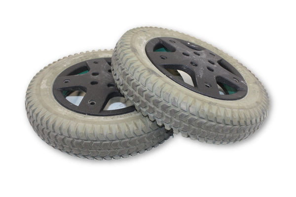 Pr1mo Power Trax Flat Free (14x3)  Replacement Tires & Black Rims | Good Tread