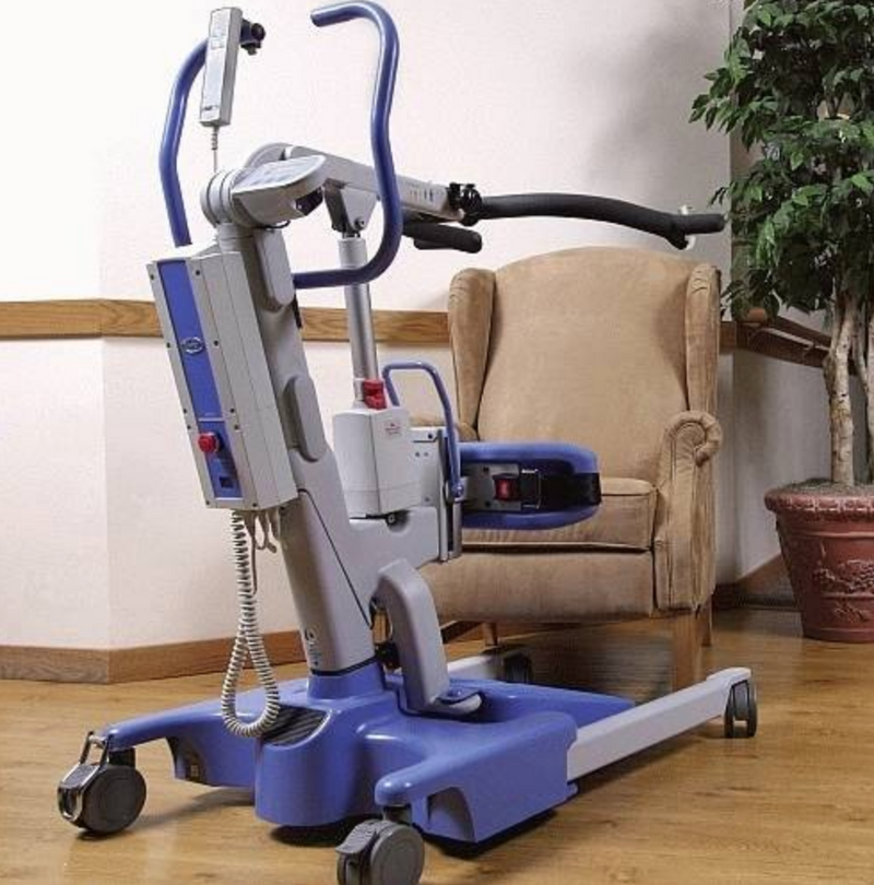 Using the New Hoyer Elevate Stand Assist Stand Assist Patient Lift | 37 - 64.7 Inches | Power Operated Base, Sling Included, Adjustable Knee Pads, Detachable Foot Plate, Locking Casters