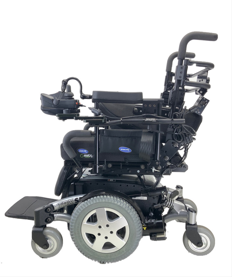 Back folded down on Like New Invacare TDX SP Rehab Power Chair | 17 x 20 Seat | Tilt & Seat Elevate