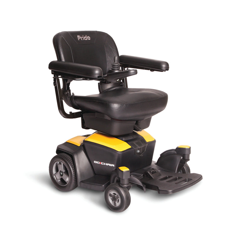 "Yellow New Pride Mobility Go-Chair Power Chair | 18""W x 17""D Seat"