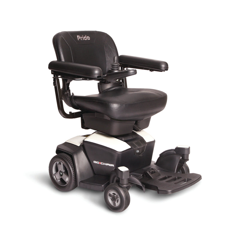 "White New Pride Mobility Go-Chair Power Chair | 18""W x 17""D Seat"