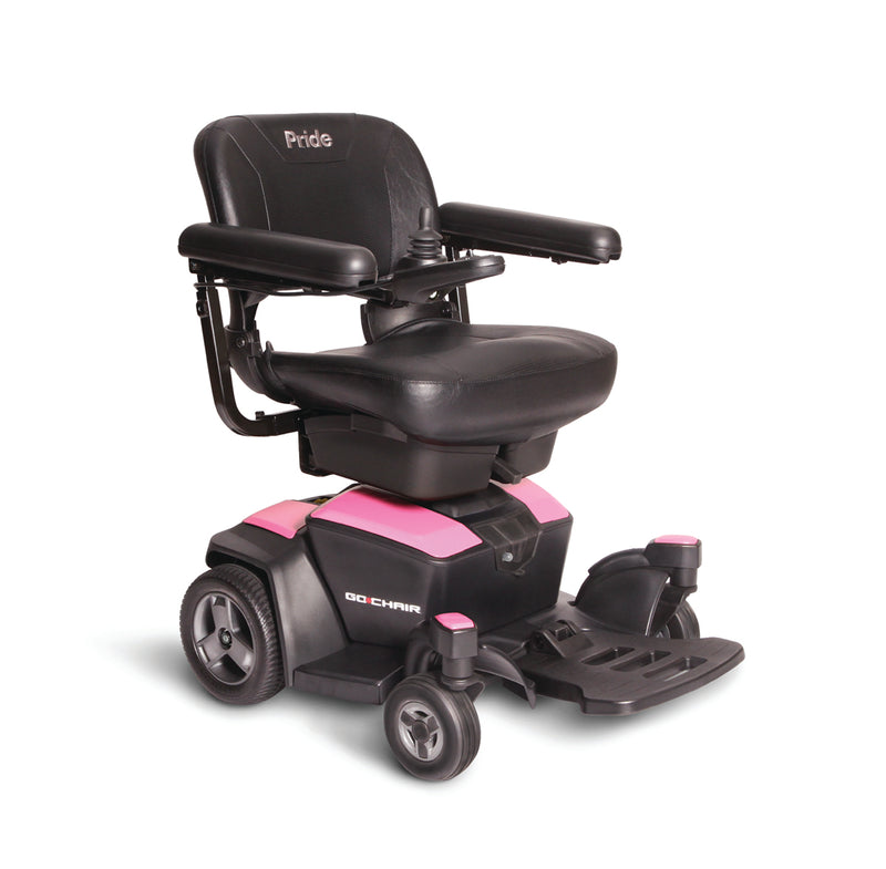 "Pink New Pride Mobility Go-Chair Power Chair | 18""W x 17""D Seat"