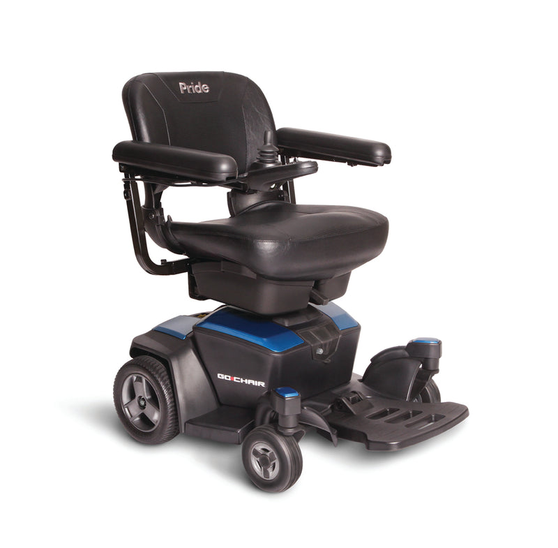 "Blue New Pride Mobility Go-Chair Power Chair | 18""W x 17""D Seat"