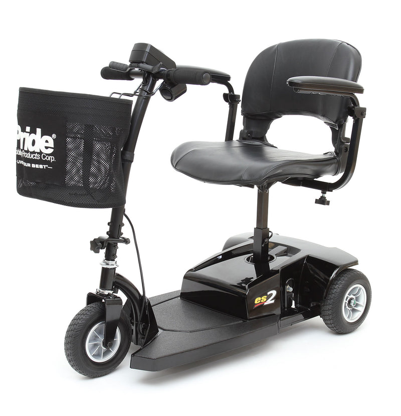 Left side of the Pride Mobility Go-Go ES2 3-Wheel Mobility Scooter