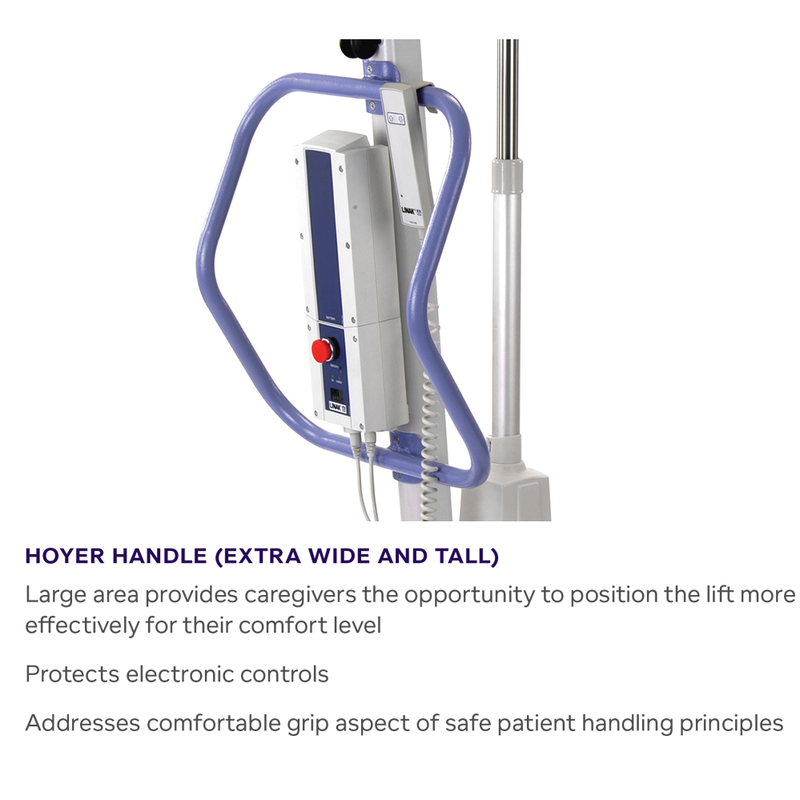 Handle info on Hoyer Advance Stand Assist Patient Lift | 13.7 - 25.6 Inches | Locking Casters