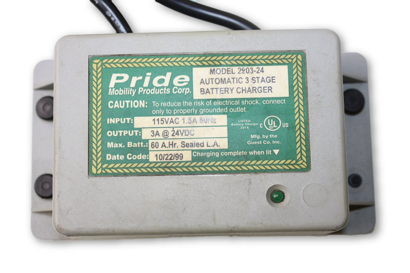 Pride Mobility Automatic 3 Stage Battery Charger Model 2903-24 - Power Chairs Test