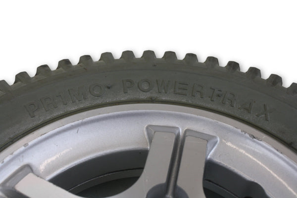 Quickie PowerTrax Flat Free Wheels (14x3) 3.00-8 Rims & Tires | Good Tread - Power Chairs Test
