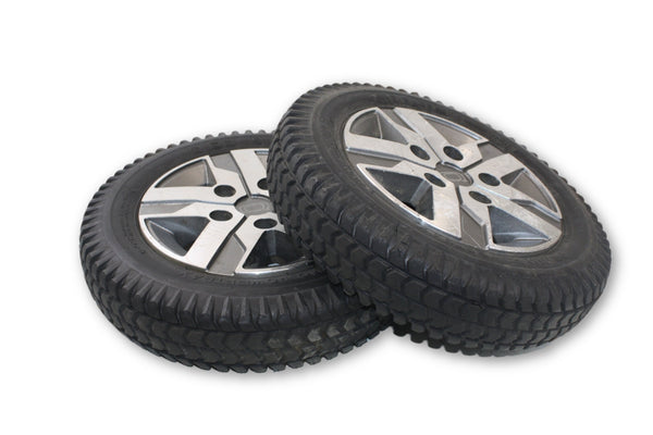 "PR1MO PowerTrax Flat Free (14""x3"") 3.00-8 Black Tires & Silver Rim 