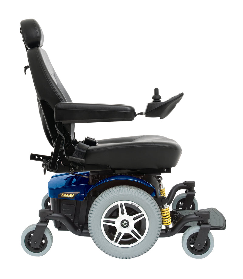 "Blue New Pride Mobility Jazzy 614 HD Power Chair | 18"" - 22""W x 18"" - 22""D Seat"