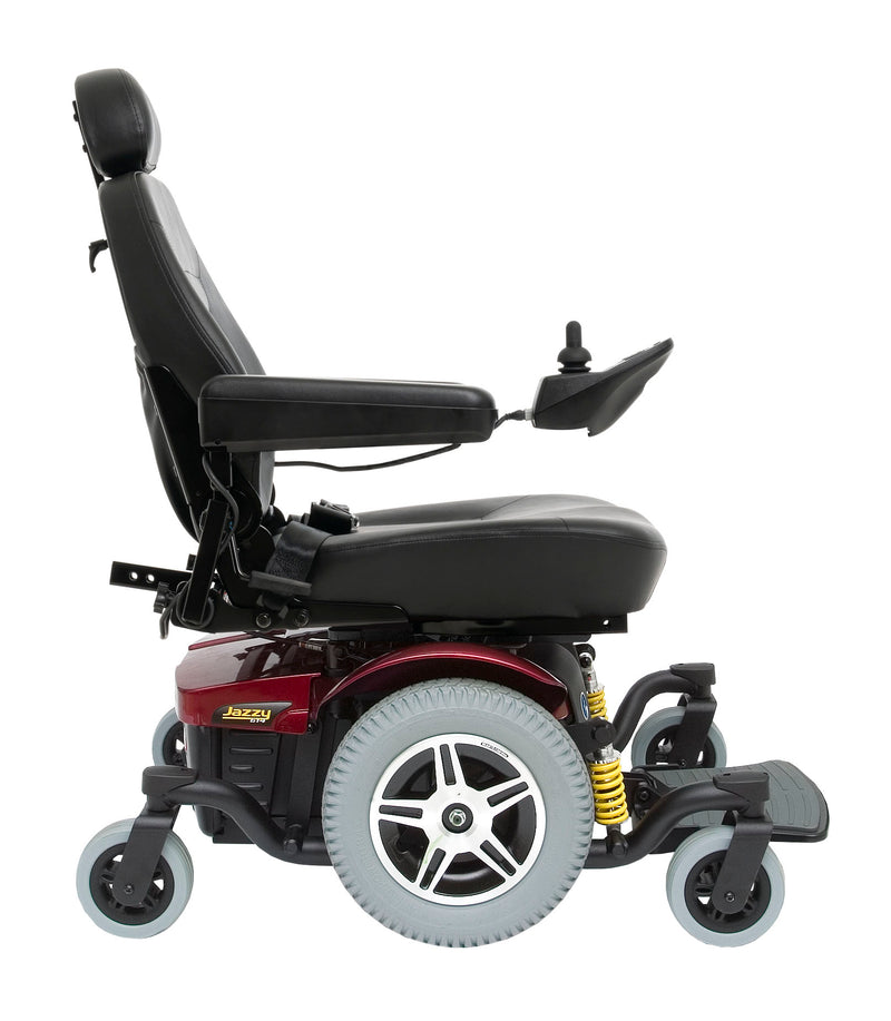"Red New Pride Mobility Jazzy 614 HD Power Chair | 18"" - 22""W x 18"" - 22""D Seat"