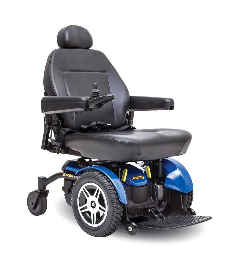 "Blue New Pride Mobility Jazzy Elite HD Power Chair | 18"" - 22""W x 18"" - 22""D Seat"
