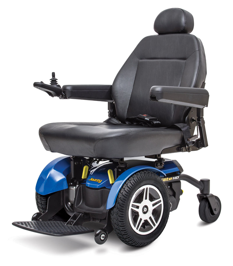 "Front of blue New Pride Mobility Jazzy Elite HD Power Chair | 18"" - 22""W x 18"" - 22""D Seat"