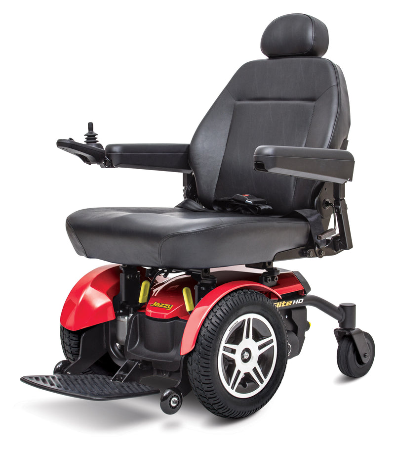 "Front of red New Pride Mobility Jazzy Elite HD Power Chair | 18"" - 22""W x 18"" - 22""D Seat"