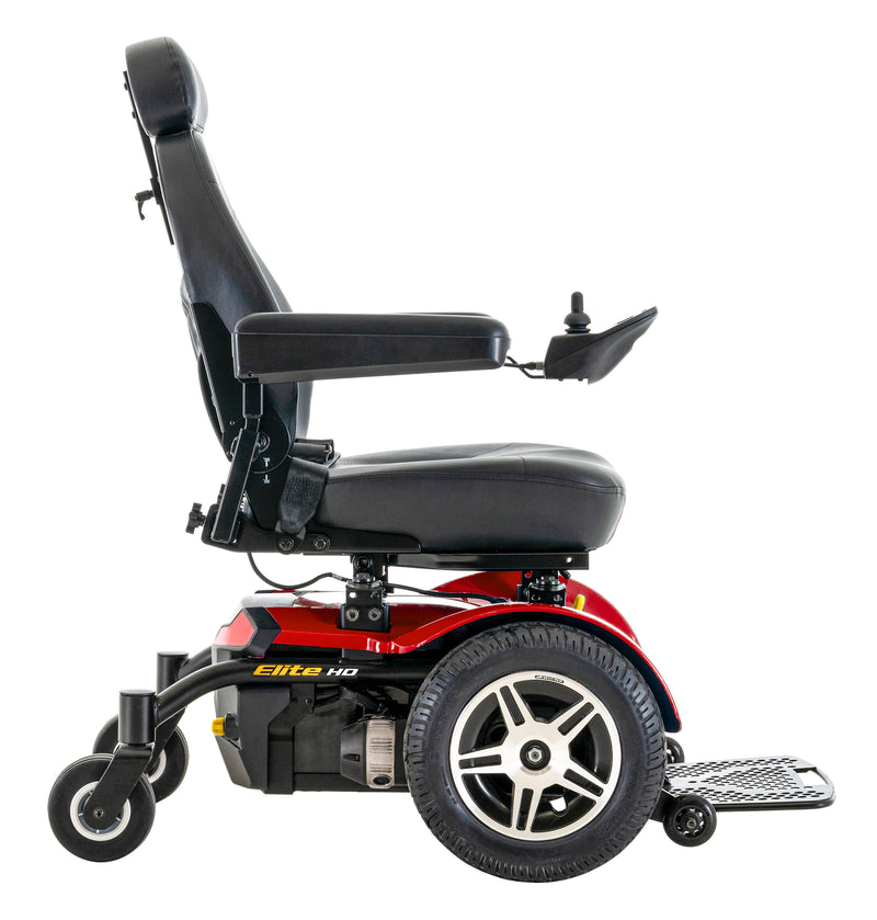 "Side of New Pride Mobility Jazzy Elite HD Power Chair | 18"" - 22""W x 18"" - 22""D Seat"