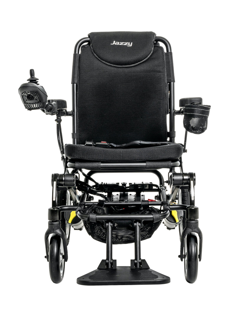 "Front of New Pride Mobility Jazzy Passport Power Chair | 18"" x 16"" Seat"
