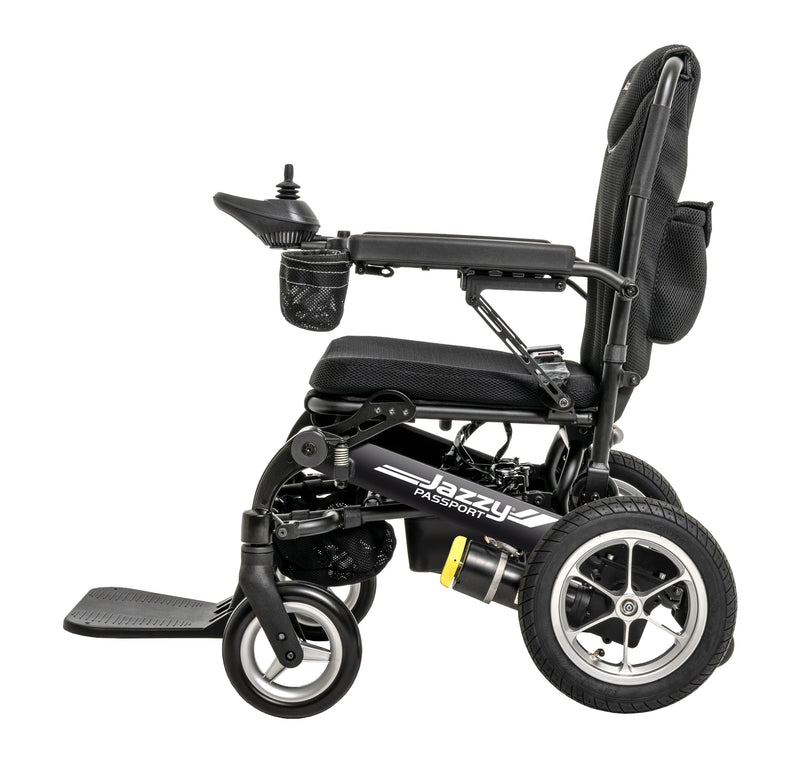 "Side of New Pride Mobility Jazzy Passport Power Chair | 18"" x 16"" Seat"