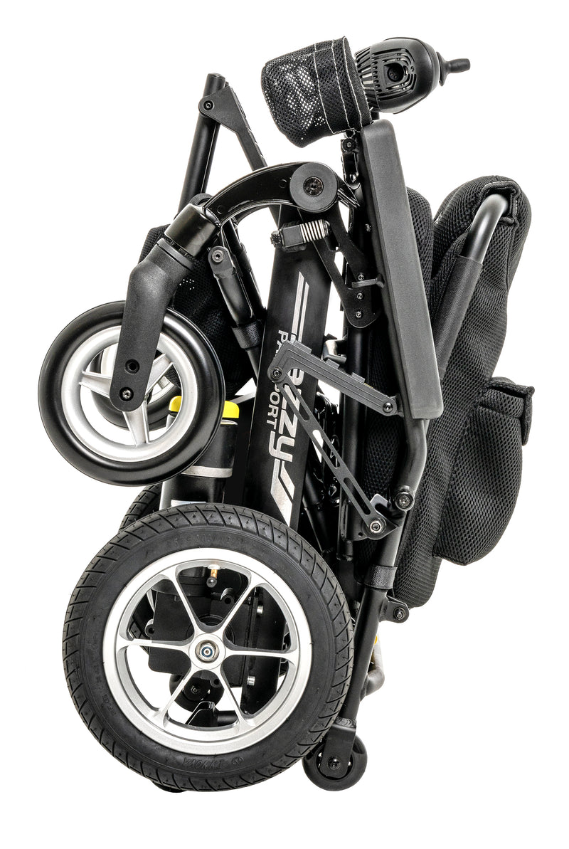 "Folded New Pride Mobility Jazzy Passport Power Chair | 18"" x 16"" Seat"