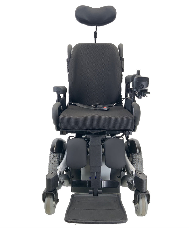 Front of Like New Invacare TDX SP Rehab Power Chair | 17 x 20 Seat | Tilt & Seat Elevate