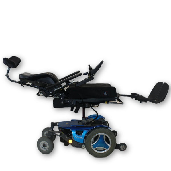 Blue Permobil C300 Electric Power Wheelchair Leg Elevate Elevate recline blown out extended laying down