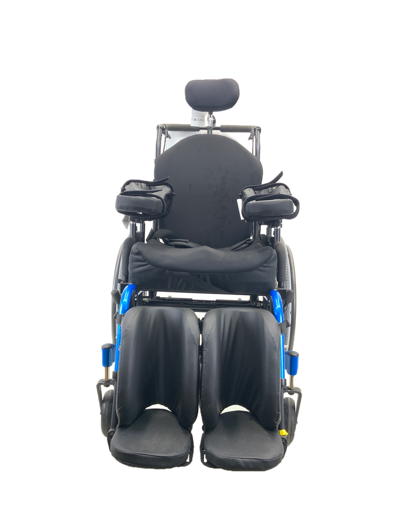 Front of New Quickie Iris Tilt-In-Space Manual Wheelchair | 17 x 21 Inches | Tilt, Recline, Heavy Duty Frame