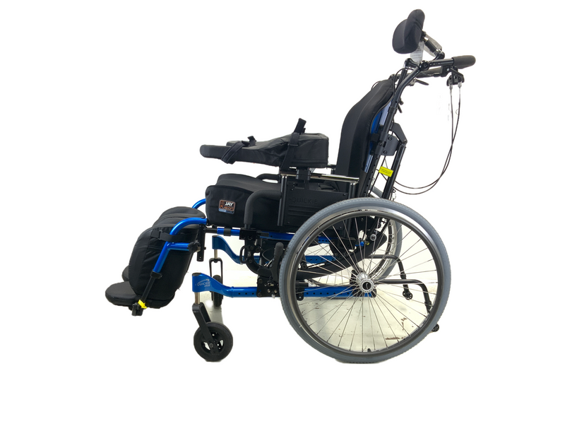 Side of New Quickie Iris Tilt-In-Space Manual Wheelchair | 17 x 21 Inches | Tilt, Recline, Heavy Duty Frame