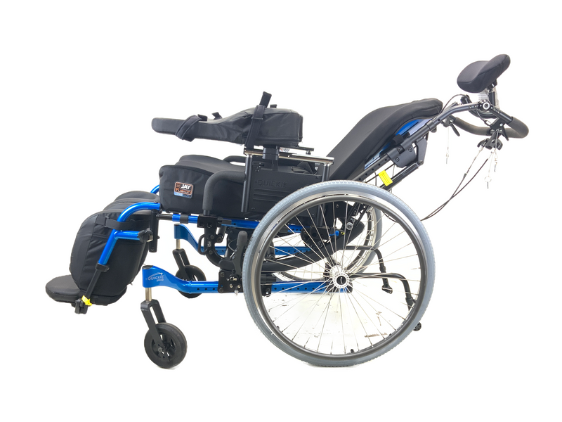Reclined New Quickie Iris Tilt-In-Space Manual Wheelchair | 17 x 21 Inches | Tilt, Recline, Heavy Duty Frame