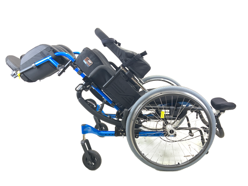 Tilted and reclined New Quickie Iris Tilt-In-Space Manual Wheelchair | 17 x 21 Inches | Tilt, Recline, Heavy Duty Frame