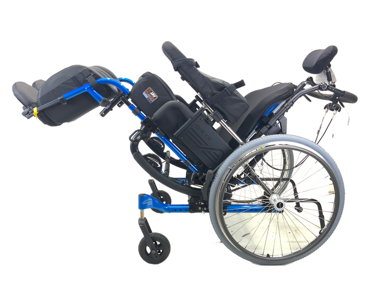 Tilted New Quickie Iris Tilt-In-Space Manual Wheelchair | 17 x 21 Inches | Tilt, Recline, Heavy Duty Frame