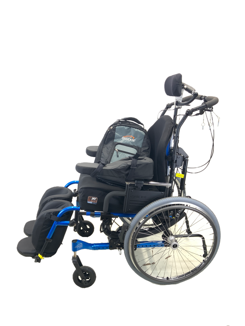 Backpack comes with the New Quickie Iris Tilt-In-Space Manual Wheelchair | 17 x 21 Inches | Tilt, Recline, Heavy Duty Frame