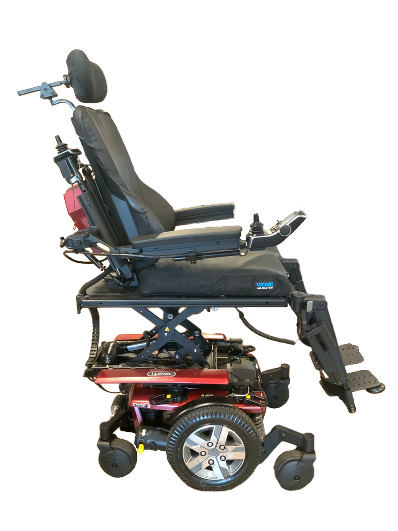 Seat elevated using iLevel system on Quantum Q6 Edge 2.0 iLevel Power Chair | 19 x 20 Seat | Tilt, Recline, Individual Power Legs, Seat Elevate