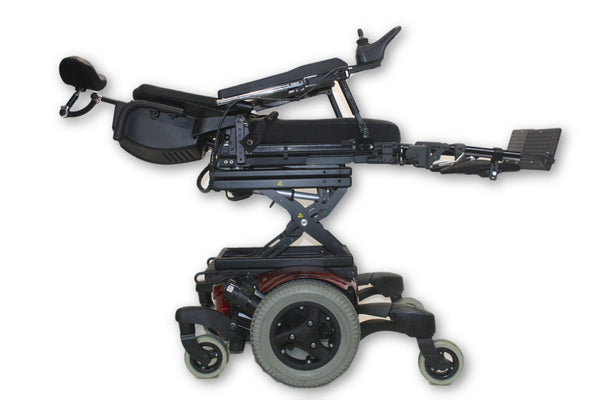 Quickie QM-710 Red Electric Wheelchair Tilt, Recline, Leg & Seat Elevate