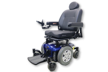 "Quantum Q6 Edge Electric Powered Wheelchair By Pride Mobility | Blue Exterior | Swing-Away Joystick | 18"" x 18"" Seat"