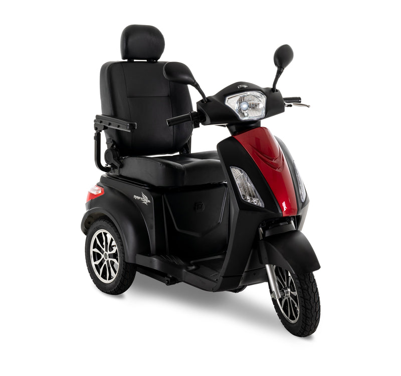 Red New Pride Mobility Raptor 3-Wheel Recreational Mobility Scooter | Max Speed 14 MPH | 400 LBS Weight Capacity