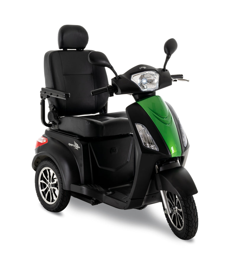 Green New Pride Mobility Raptor 3-Wheel Recreational Mobility Scooter | Max Speed 14 MPH | 400 LBS Weight Capacity