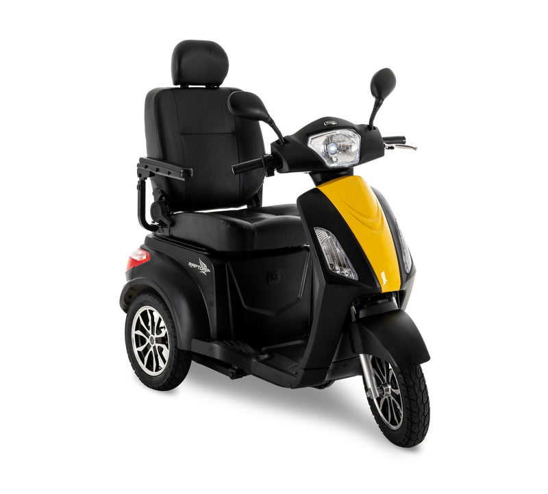 Yellow New Pride Mobility Raptor 3-Wheel Recreational Mobility Scooter | Max Speed 14 MPH | 400 LBS Weight Capacity