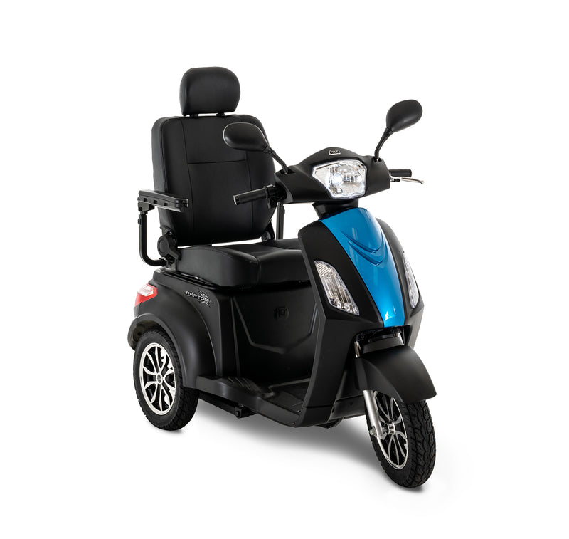 Blue New Pride Mobility Raptor 3-Wheel Recreational Mobility Scooter | Max Speed 14 MPH | 400 LBS Weight Capacity