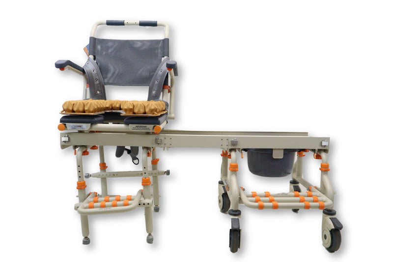 Shower Chair Transfer Bench | SB2 Shower Buddy Commode Seating System | Sliding Transfer Bench | ROHO Cushion - Power Chairs Test