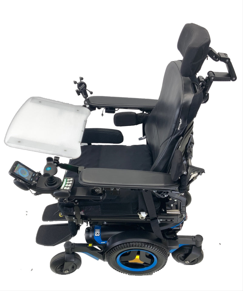 Side and tray view of Like New 2020 Permobil M3 Power Chair | 19 x 20 Seat | Tilt, Recline, Power Legs | Only 25 Miles!