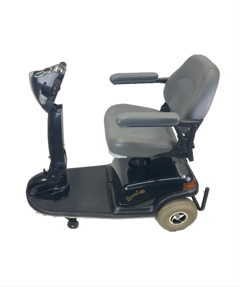 Side view of Rascal 600T Electric 3-Wheel Scooter  Seat Elevating Capabilities  450 lbs. Weight Capacity  19 x 16 Seat  Lighting Kit