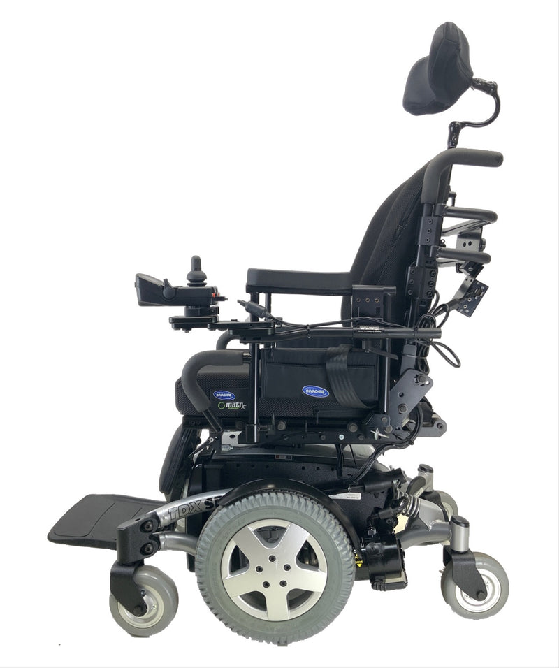 Side view of Like New Invacare TDX SP Rehab Power Chair | 17 x 20 Seat | Tilt & Seat Elevate