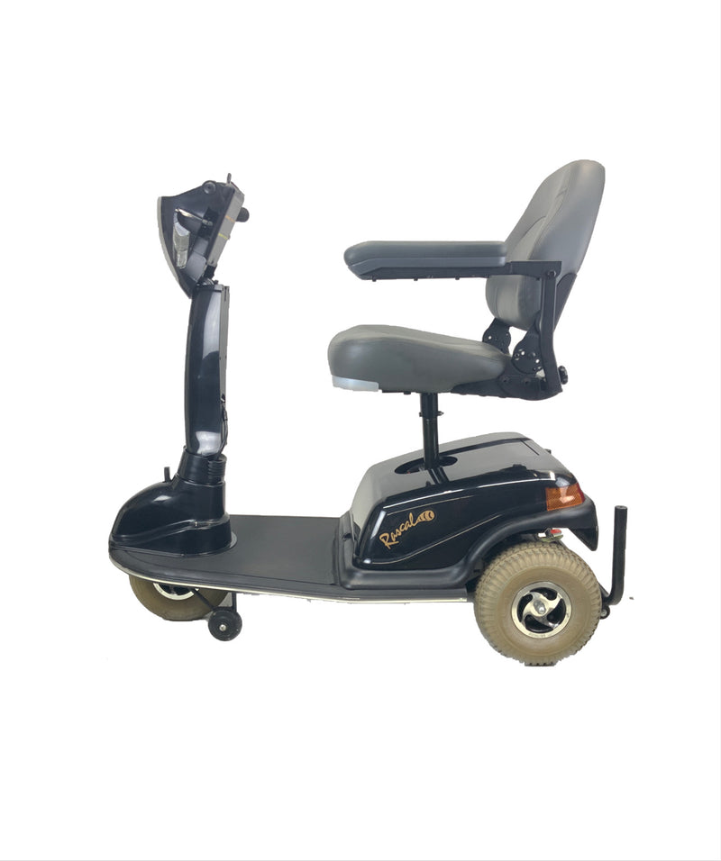 Seat Raised on Rascal 600T Electric 3-Wheel Scooter  Seat Elevating Capabilities  450 lbs. Weight Capacity  19 x 16 Seat  Lighting Kit