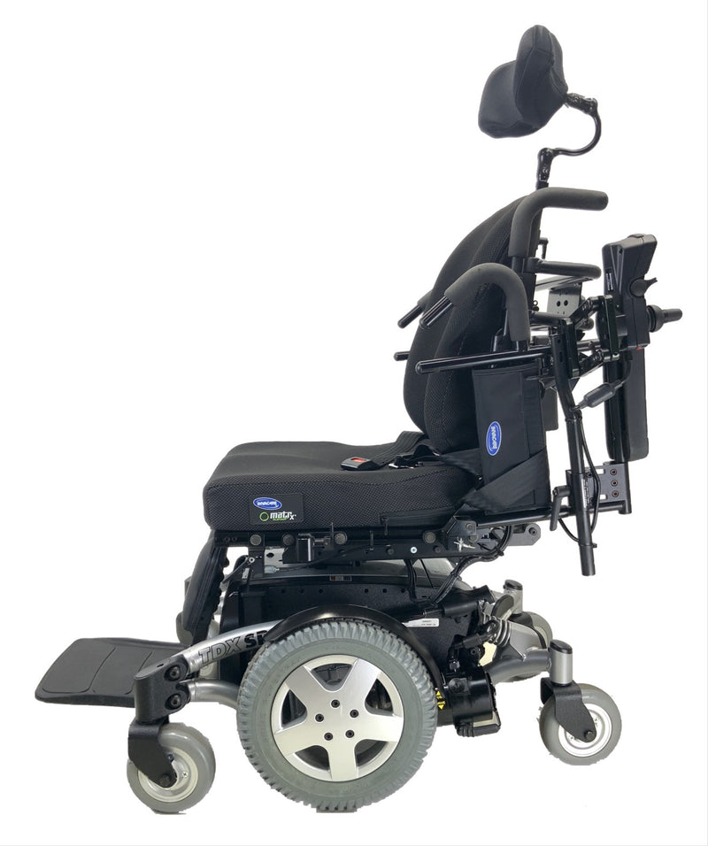 Raised armrests on Like New Invacare TDX SP Rehab Power Chair | 17 x 20 Seat | Tilt & Seat Elevate